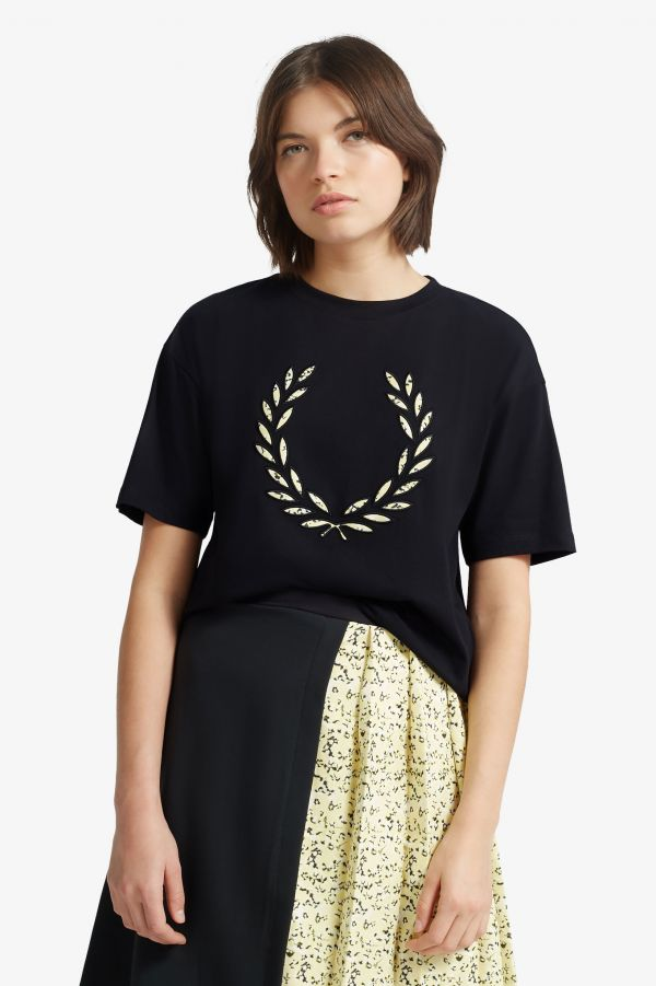 T-Shirt Laurel Wreath A Fiori
