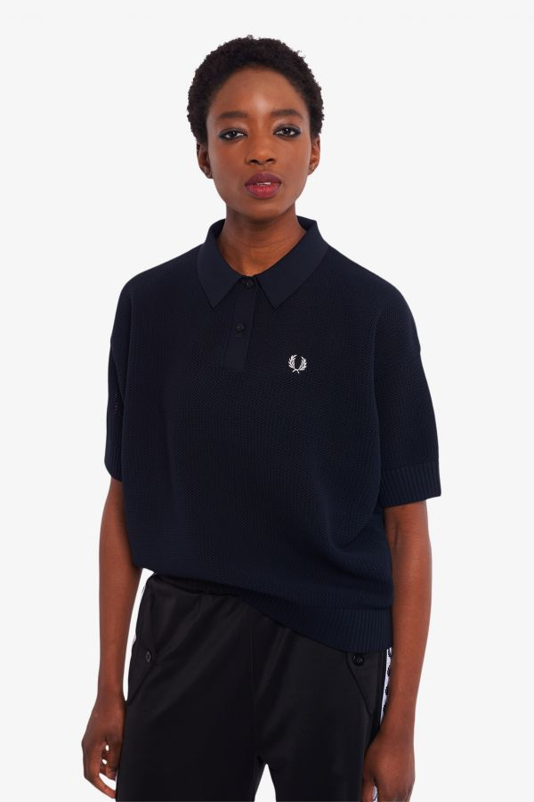 Oversized Open-Knit Polo Shirt