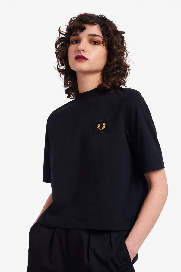High Neck Badge Detail T-Shirt