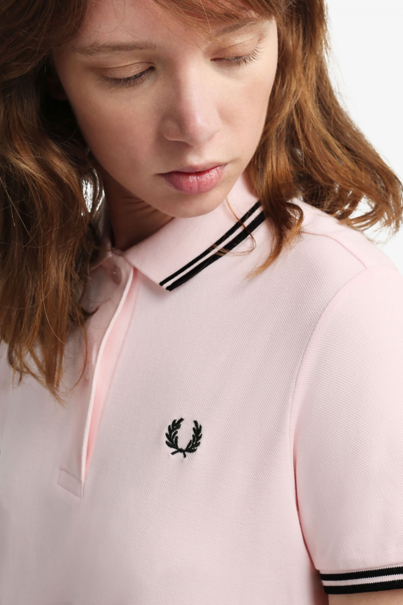 Robe polo Fred Perry à double liseré - Rose