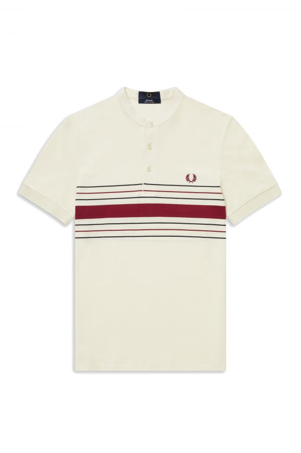 Collarless Striped Polo Shirt