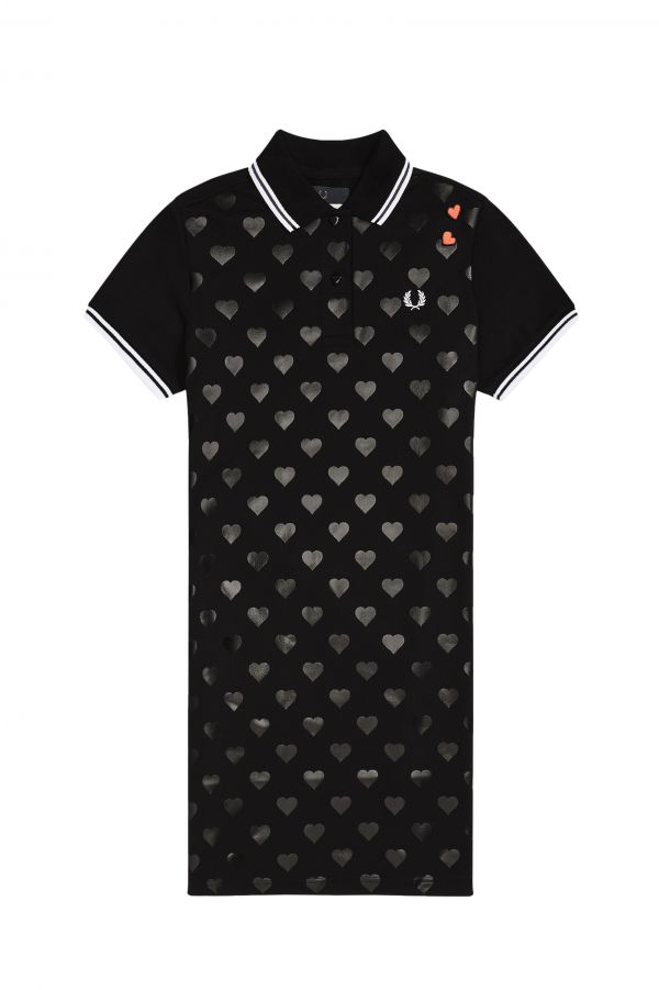 Heart Print Piqué Dress