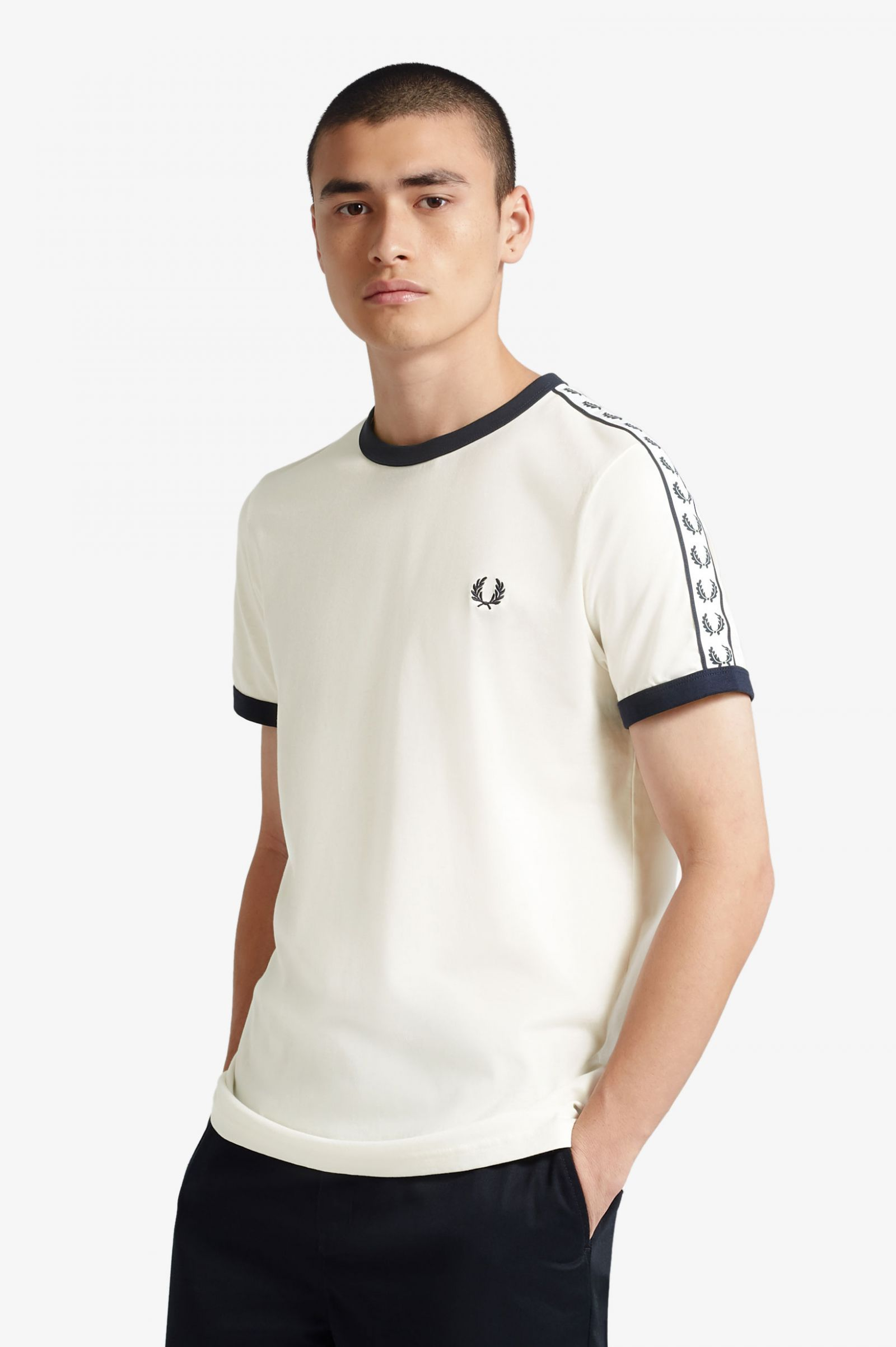 blanc Fred Perry Homme Ringer T-shirt