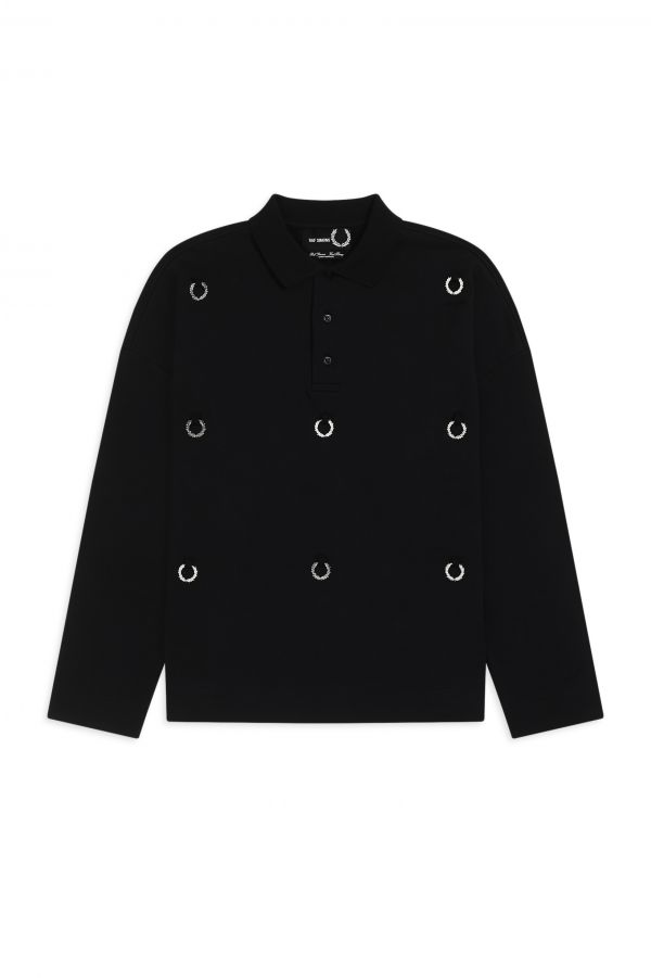 Raf Simons Brushed-Back Polo Shirt with Laurel Wreath Tabs