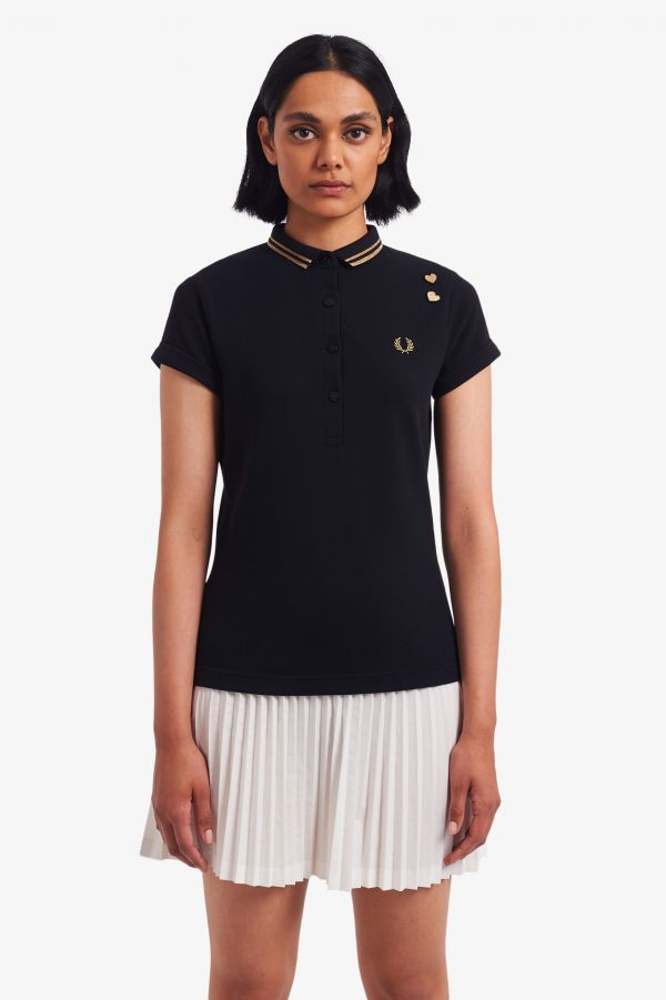 Metallic Trim Polo Shirt