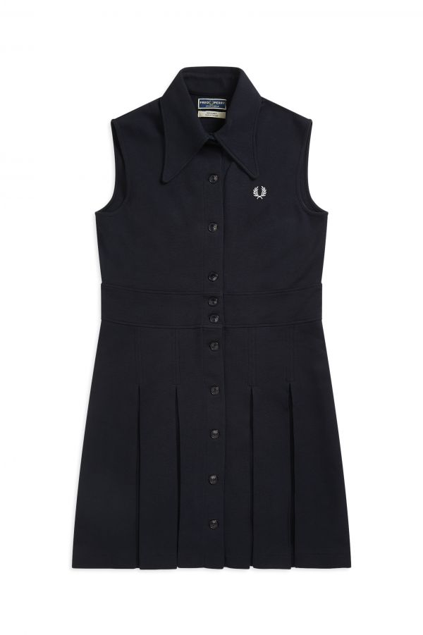 Reissues Sleeveless Pleated Pique Dress
