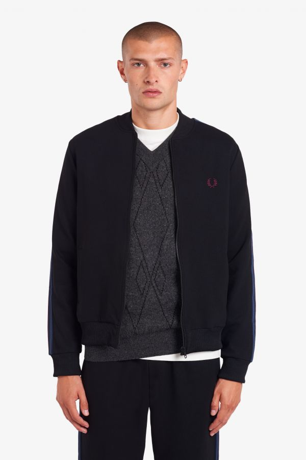 Taped Bomber Neck Track Jacket