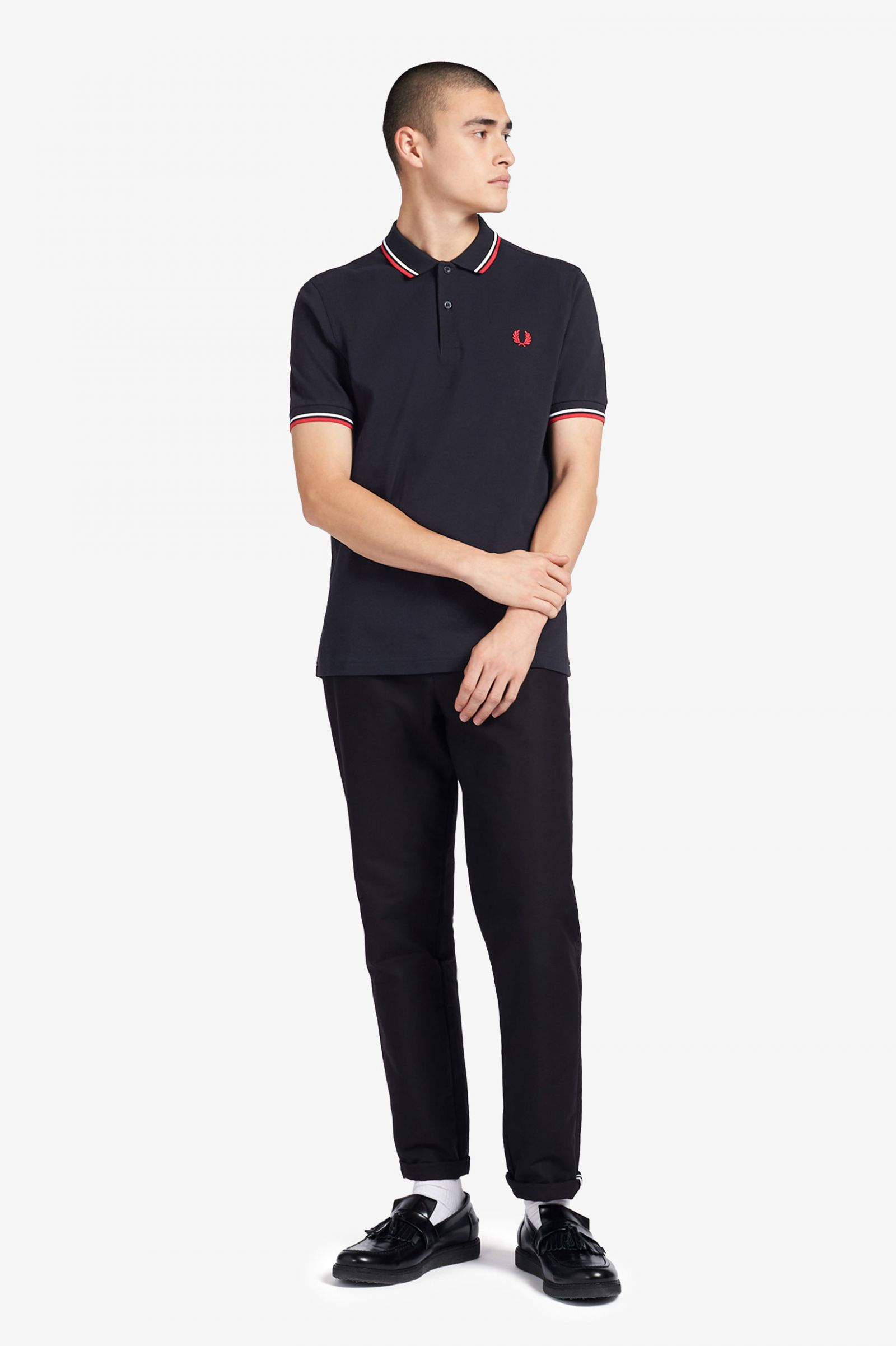 Fred Perry Navy Polo T-Shirt Navy//Red//White Twin Tipped M3600-471