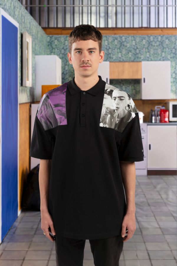 Raf Simons Oversized Shoulder Print Polo Shirt